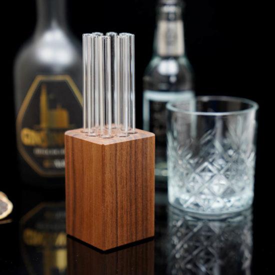 Trinkhalm Block aus Nussbaum-Holz